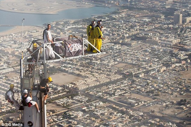 Prepared: Fred Fugen and Vince Reffet are not the first to base jump from the Burj Khalifa tower but had a special platform built to add an extra 50 feet, thereby enabling them to break the world base jump record