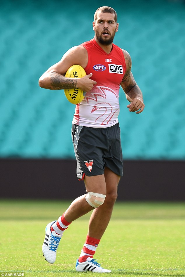 Sydney Swans AFL player Lance Franklin takes part in team a training session in Sydney today, a day after crashing his girlfriends Jeep