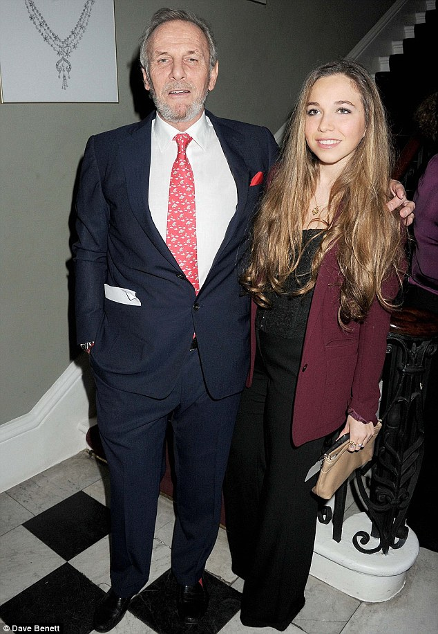 Mark Shand, British travel writer with his daughter Ayesha Shand at The Faberge Big Egg Hunt Champagne Countdown party at Quintessentially in London, England