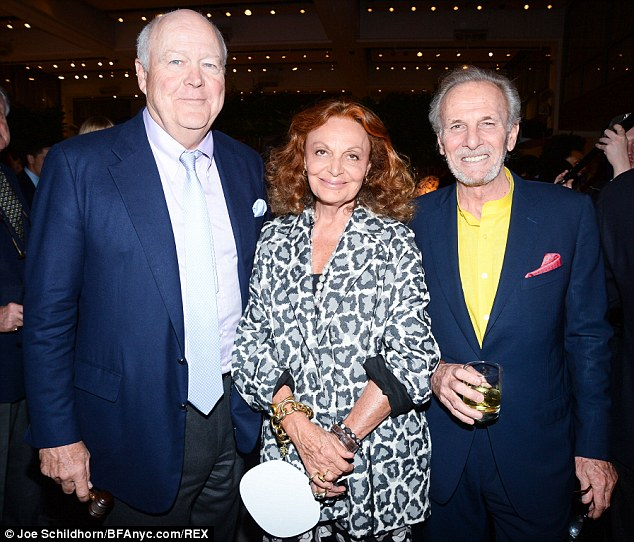 Party: Mr Shand, right, with Elephant Family trustee Diane von Furstenberg and another guest at the Big Egg Hunt auction, just hours before his death
