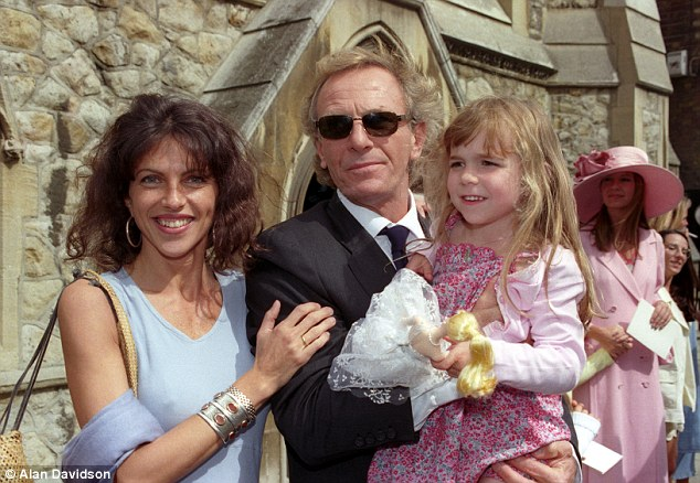 Family: Mr Shand with his then wife Clio Goldsmith and their young daughter at a wedding in London's Knightsbridge in 1999