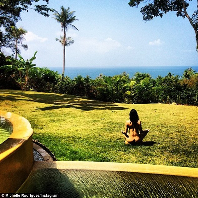 Hardly shy: The star shared this nude image of herself meditating from a resort while away on a holiday in February