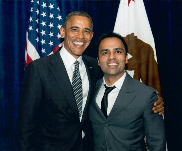 Chahal - pictured with President Obama - pleaded guilty to one charge of domestic violence battery and one charge of battery and was sentenced to just 25 hours of community service, three years probation and a 52-week domestic violence training course after beating his girlfriend in 2013