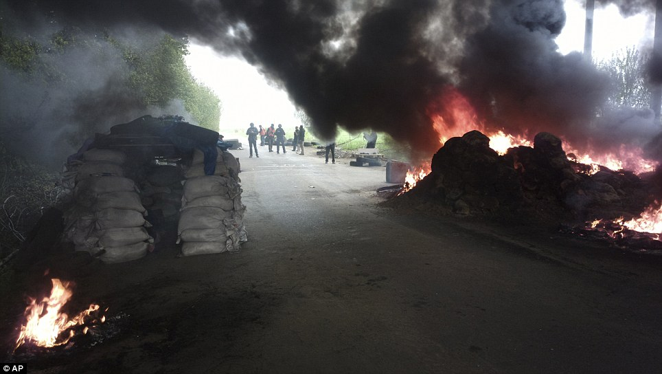 Spectacle: A group of journalists look at burning tyres at a checkpoint outside Slovyansk