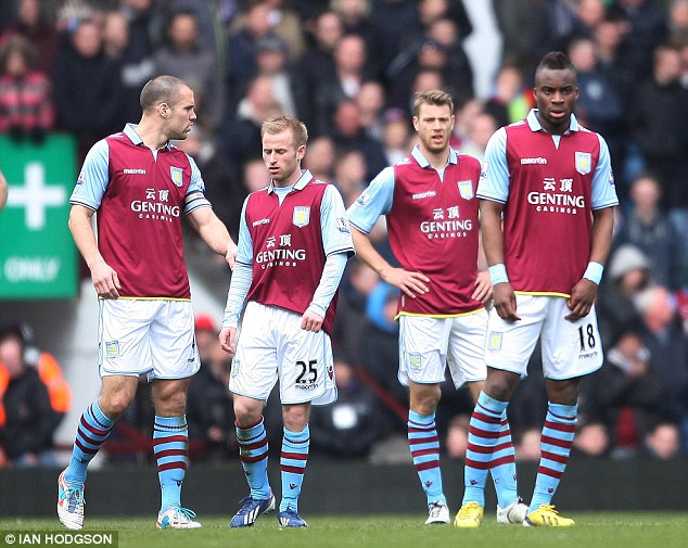 Nervy: Aston Villa are 15th in the Premier League, five points clear of the relegation zone