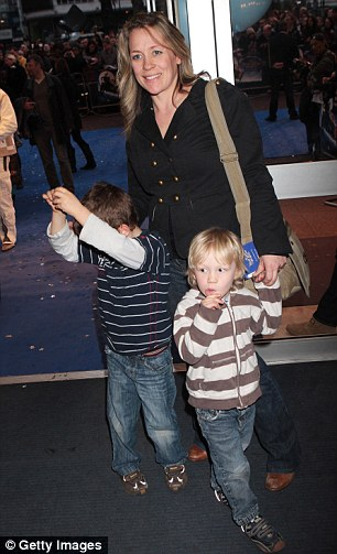Sarah Beeny with two of her sons at the World Premiere of Nanny McPhee And The Big Bang