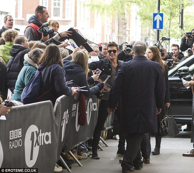He's still got it: The actor was met by lots of fans who were desperate to get a picture of him or an autograph
