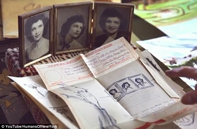 Lovingly kept: Shirley has devotedly held onto countless letters Moe wrote for her during his time away at the war, many of which include drawings and cartoons