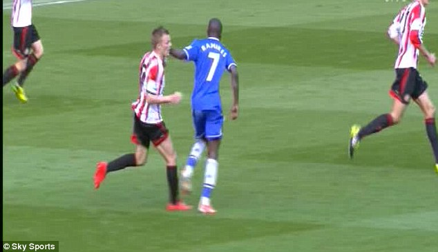 Foul play: Ramires has received a four-match ban after swinging an arm against Sebastian Larrson