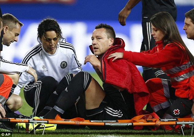 Out: Chelsea's defence won't have John Terry when they come face-to-face with Liverpool