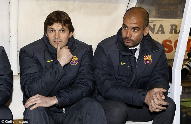 Learning from the best: Vilanova (left) was assistant to Pep Guardiola during his time in the hotseat at Barca