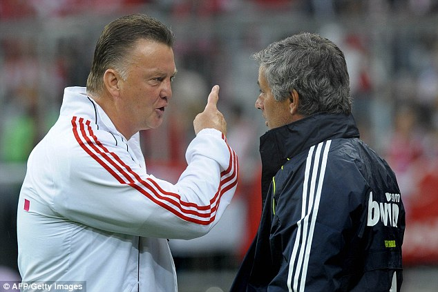 Old pals: Jose Mourinho was a coach during Van Gaal's stint at Barcelona, with the pair pictured in 2010 in a friendly between Real Madrid and Bayern Munich