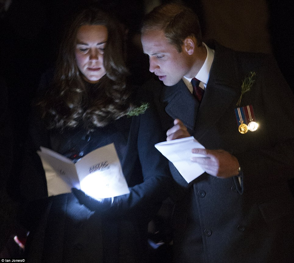 The pair shared in silent moments in memory of Australia's fallen war dead
