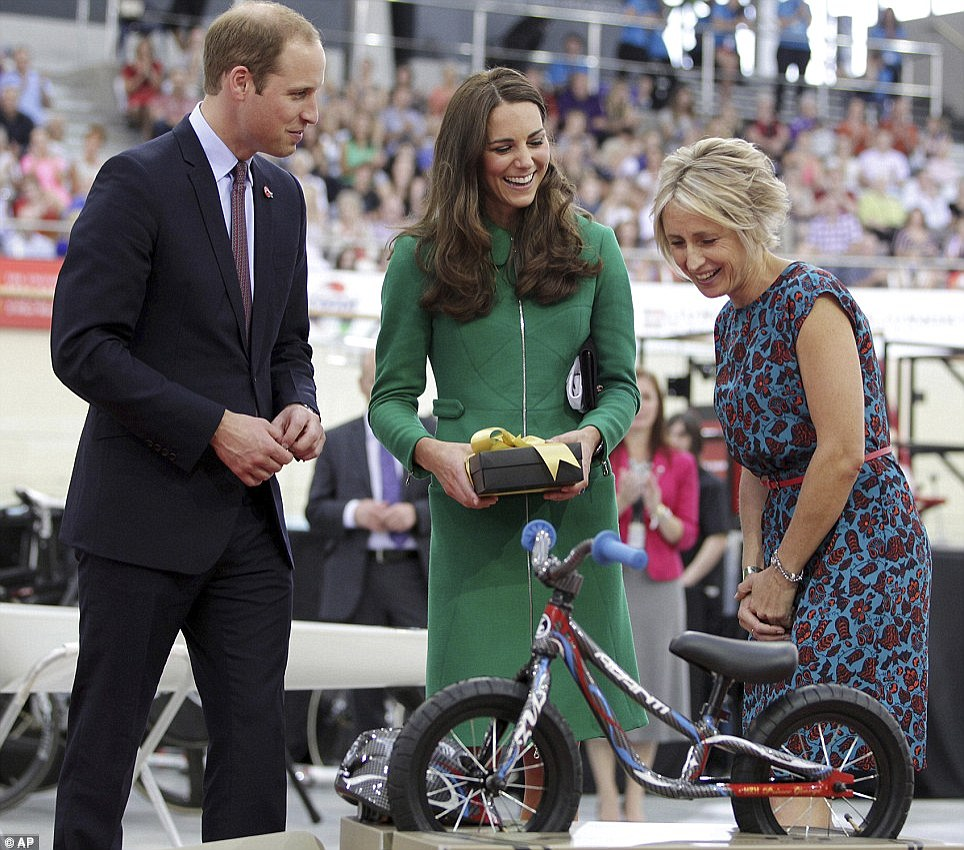 George received a number of generous gifts as he tours with his parents, including this mini bicycle