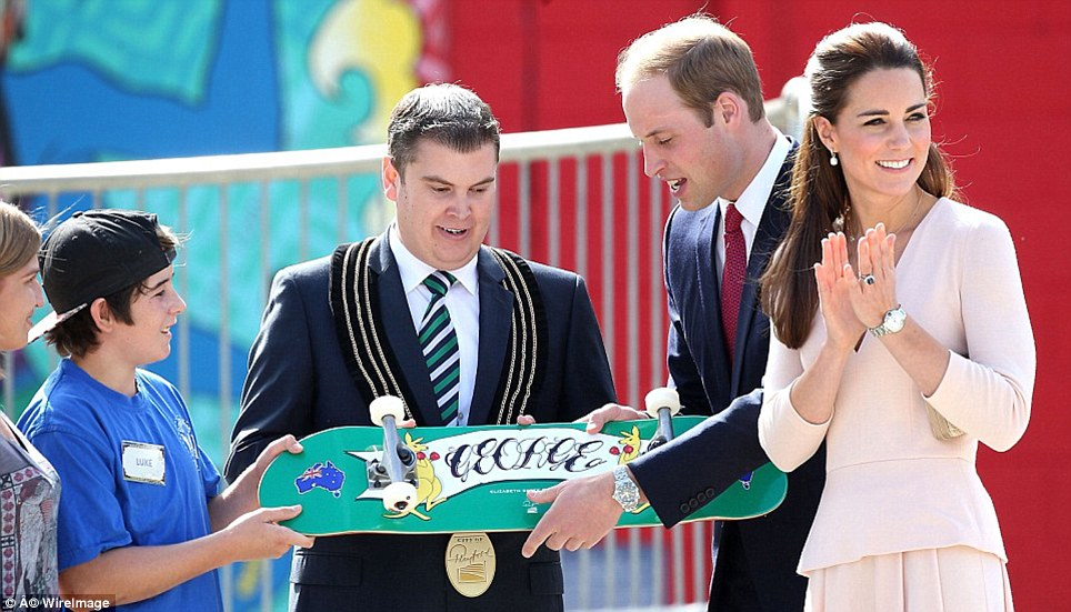 The Prince was gifted with a skateboard by City of Playford Mayor Glenn Docherty