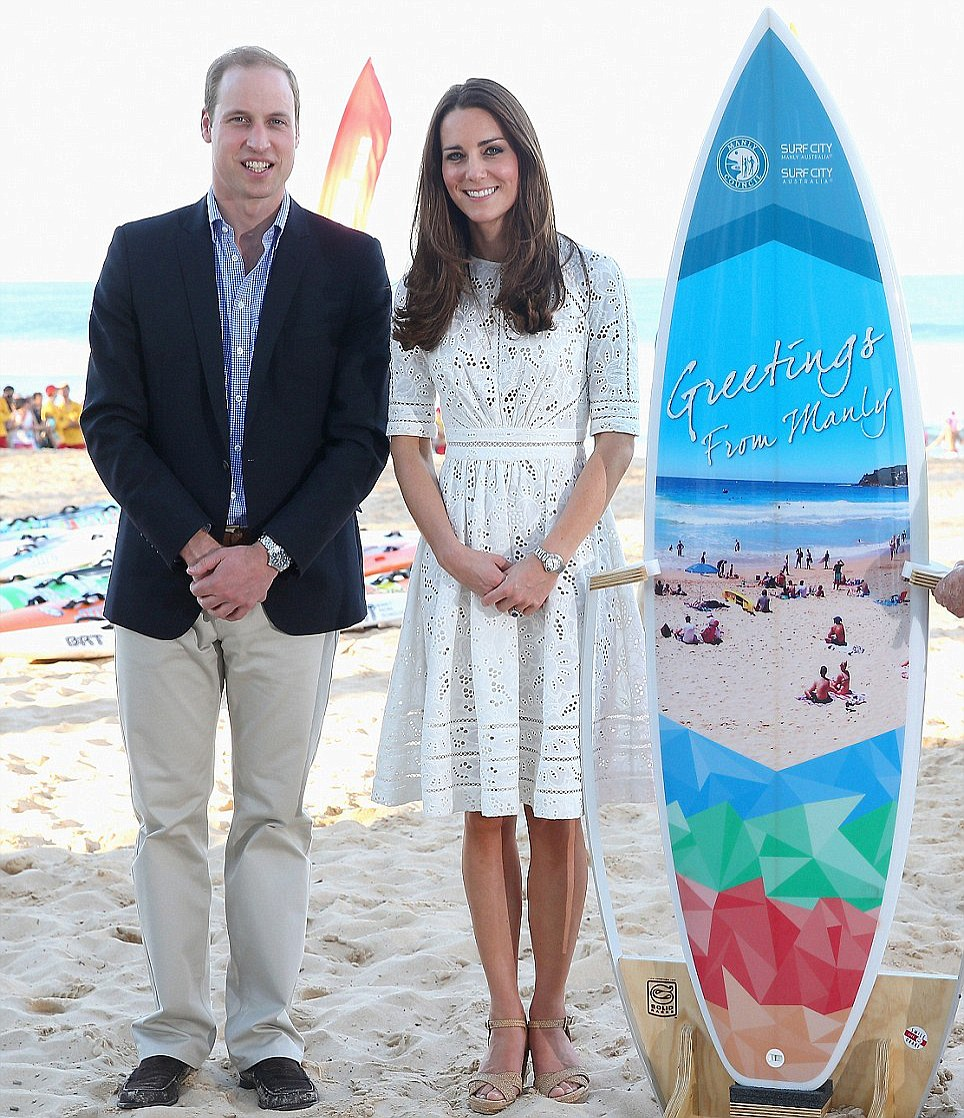 The Royal couple were presented with a custom-made surfboard for Prince George