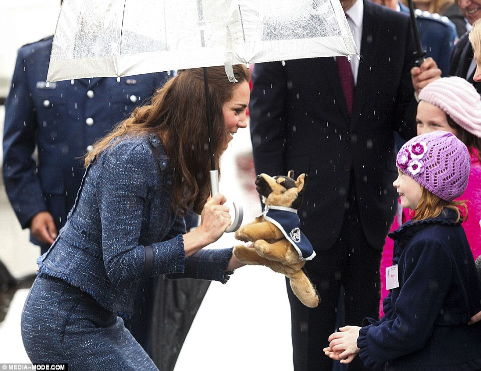 When the Duchess was given a soft plush toy intended for George by a young girl, Kate replied 'He'll love it'