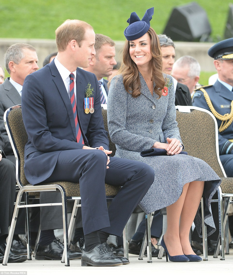 Front row: Kate and William were escorted to their seat to watch the march by veterans of World War II, 20th century conflicts such as the Korean and Vietnam Wars and the more recent wars and peacekeeping efforts