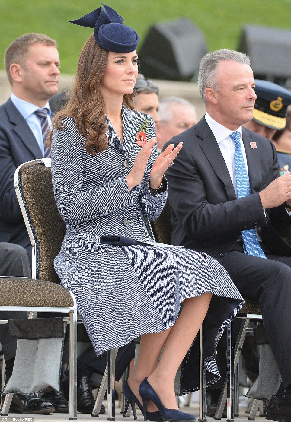 Tweed: The Palace would not release further details about Kate's outfit, as they did not want to detract from the Anzac Day service