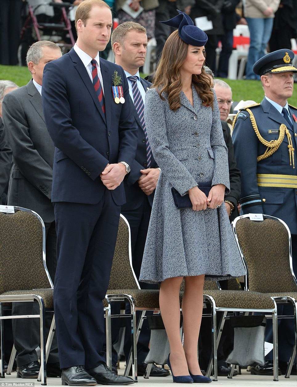 Respectful: William and Kate stood for the arrival of Governor General Sir Peter Cosgrove and wife Lynne Cosgrove, who stepped from their car as the Australian national anthem was played