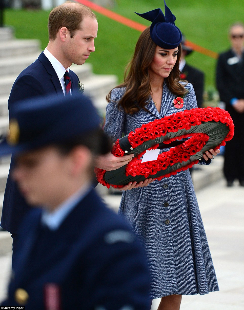 Together: Their Royal Highnesses both held on to the large commemorative wreath