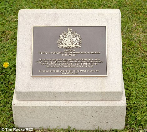 Plaque: The Royal's visit is remembered with this sign