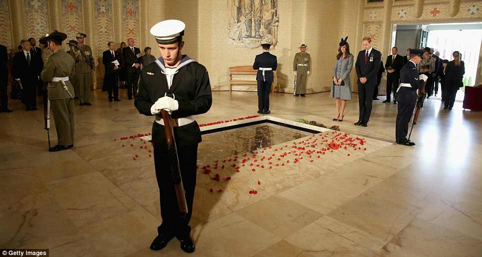 Quiet: Another moment of silence was held by the Tomb of the Unknown Australian Soldier