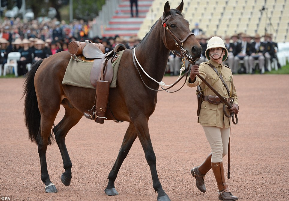 Beginning: A riderless horse led the Anzac March, representing loss in battle