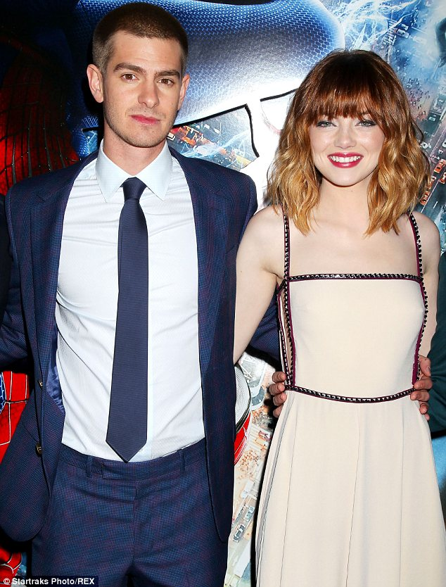 Happy couple: Andrew Garfield and Emma Stone also star in the movie, which came out April 18 in the UK and will be released in the US on May 2