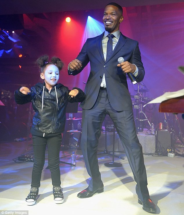 Busting a move: On stage at the premiere's after-party, Jamie and Annalise did a daddy-daughter dance