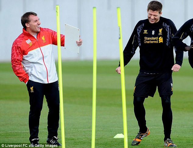 The way we were: Rodgers and Gerrard laughing and smiling during training last week