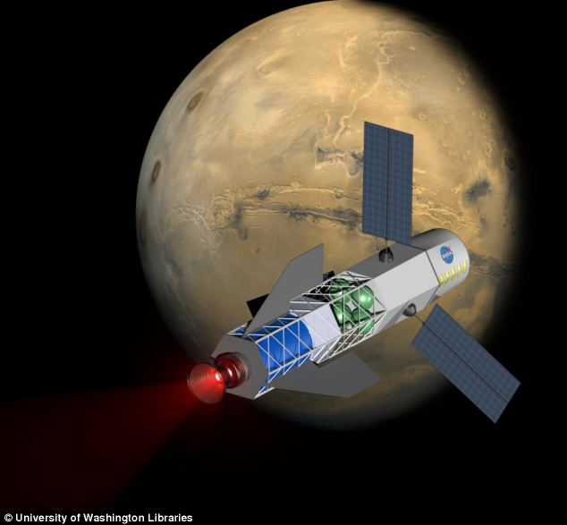 A concept image of a spacecraft powered by a fusion-driven rocket. The crew would be in the forward-most chamber. Solar panels on the sides would collect energy to initiate the process that creates fusion