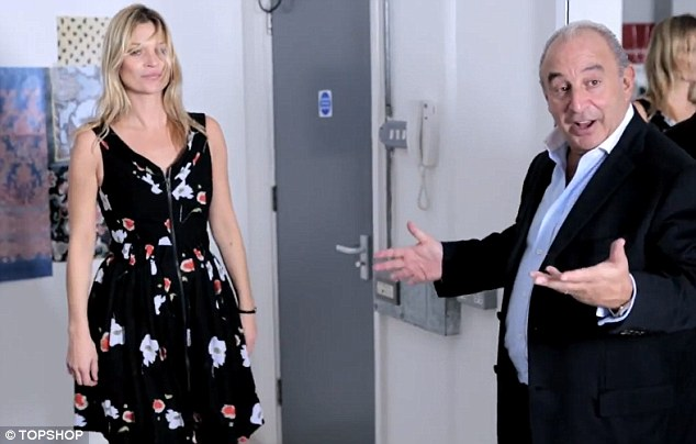 Tell me you don't love this? Sir Philip Green stars in a behind the scenes fashion video with Kate Moss ahead of her collection launch - and it appears that the Topshop boss is her biggest fan