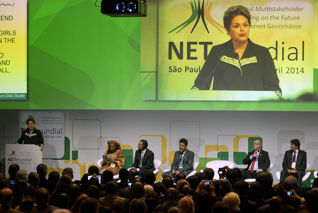 Brazil's President Dilma Rousseff addresses the opening ceremony of NETmundial, a major conference on the future of Internet governance in Sao Paulo, Brazil,...