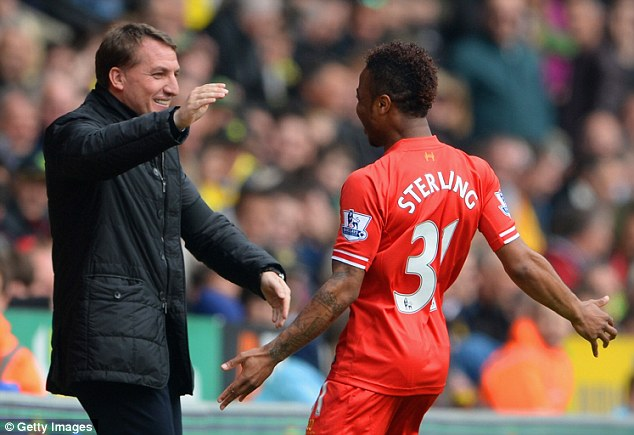 Youth club: Brendan Rodgers rates Raheem Sterling (R) as one of Europe's best young players