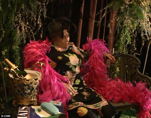 In her element: Mickey Easterling, a vivacious New Orleans socialite, requested a memorial be held in which she was propped up and dressed as if she were attending one of the parties she was renowned for