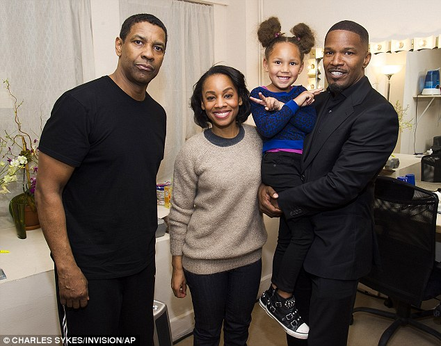 Friends in high places: Jamie and Annalise later paid a visit to see Anika Noni Rose and Denzel Washington backstage after watching a performance of Broadway's A Raisin in the Sun on Friday