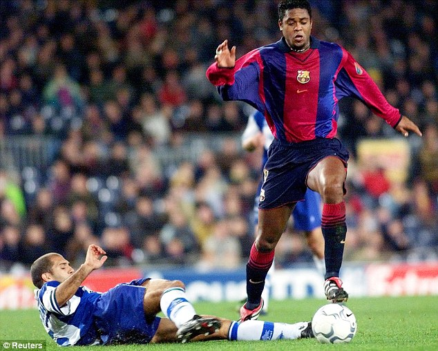 Legend: Kluivert played under Van Gaal for Ajax and Barcelona (above)