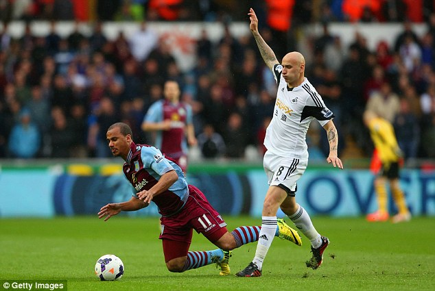 Tough tackler: Shelvey clashes with Villa's Gabriel Agbonlahor at the Liberty Stadium