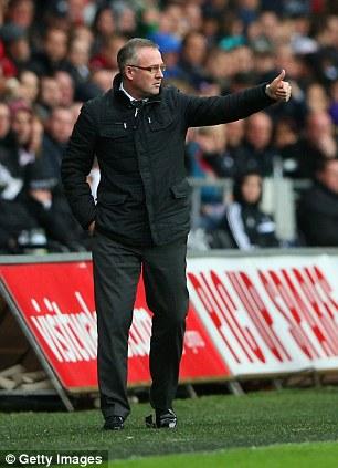 Thumbs up: Aston Villa boss Paul Lambert praises his team