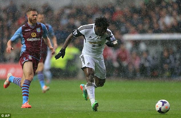 Taking aim: Swansea striker Wilfried Bony scored the opening goal against Villa