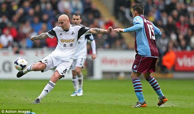 Long-distance expert: Swansea City midfielder Jonjo Shelvey scored from almost 50 yards against Aston Villa