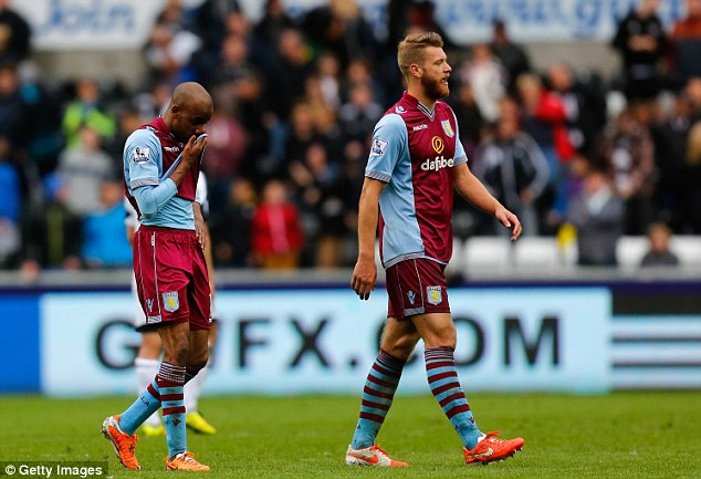 Welsh woe: Delph and Nathan Baker leave the field after the loss to Swansea