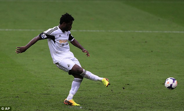 Keeping his cool: Bony scored Swansea's fourth from a penalty