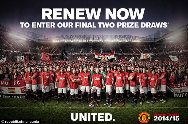 Hope: Manchester United's new photo on their season ticket renewal email