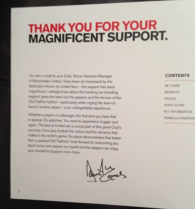 Thank you for your magnificient support: David Moyes' letter for the fans in the booklet