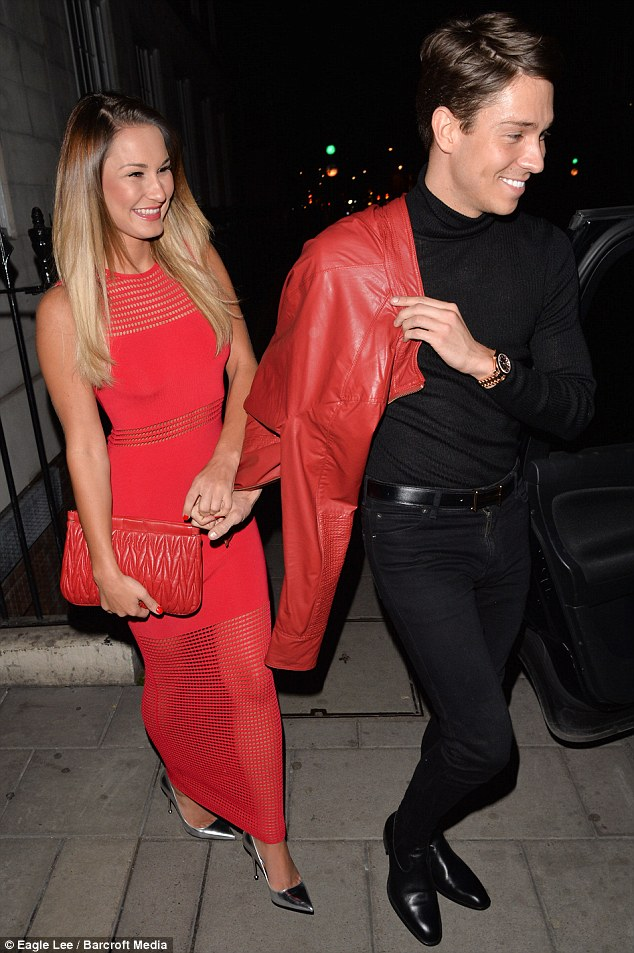 The happy couple: Joey Essex and Sam Faiers left an exclusive London nightspot on Saturday evening, walking hand-in-hand