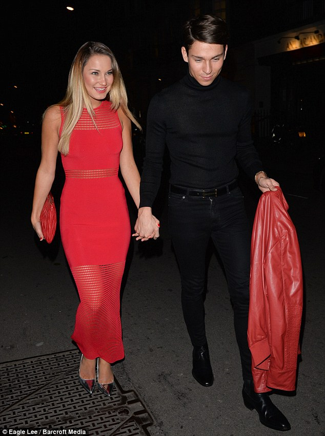 Coordinated couple: Both stars wore the colour of love for their date night