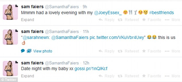 Over the moon: Sam couldn't stop telling her fans about her love for Joey, referring to him as her 'best friend'
