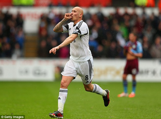 Stunner: Jonjo Shelvey celebrates his staggering 45-yard effort against Aston Villa on Saturday